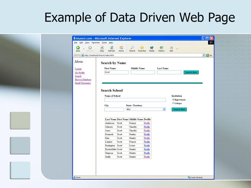 Example of Data Driven Web Page