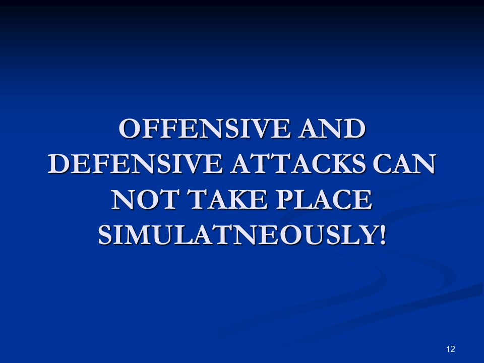 OFFENSIVE AND DEFENSIVE ATTACKS CAN NOT TAKE PLACE SIMULATNEOUSLY!