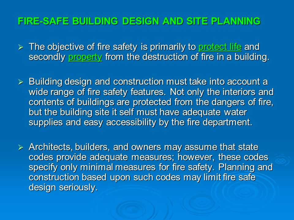 Fire protection and prevention ppt download for Planning design and construction