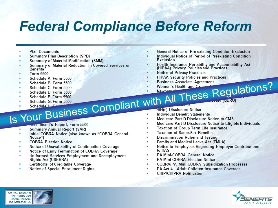 Federal Compliance Before Reform