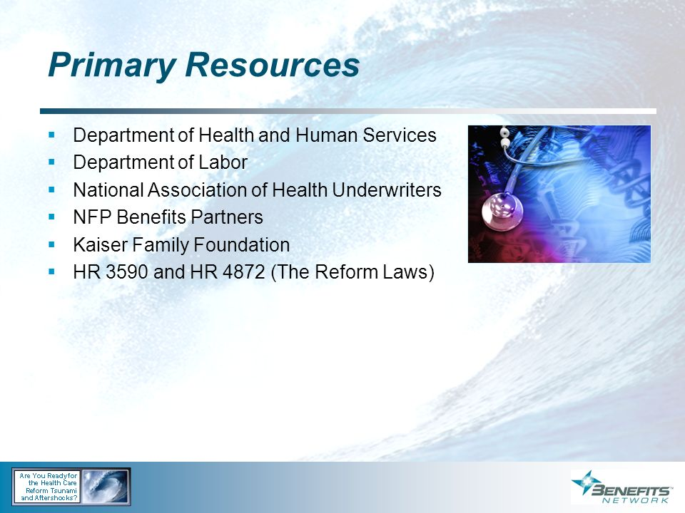 Primary Resources Department of Health and Human Services