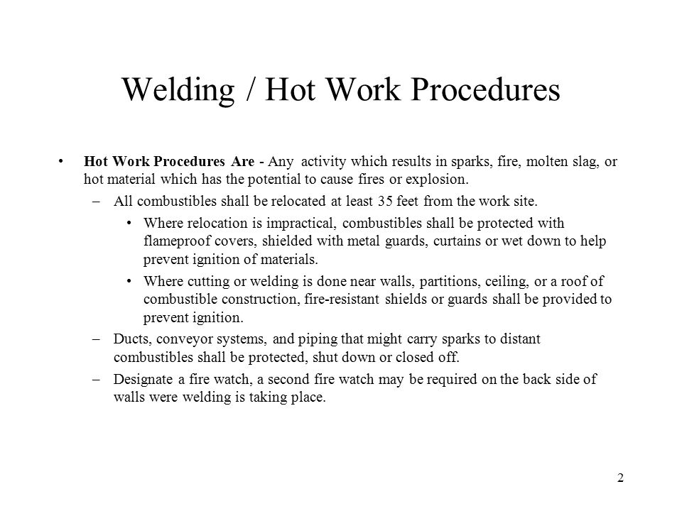 Welding / Hot Work Procedures