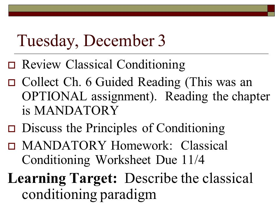 assignment classical conditioning paper Ivan pavlov is known for his studies in classical conditioning, which have been influential in understanding learning pavlov (1902) get the idea that there have.