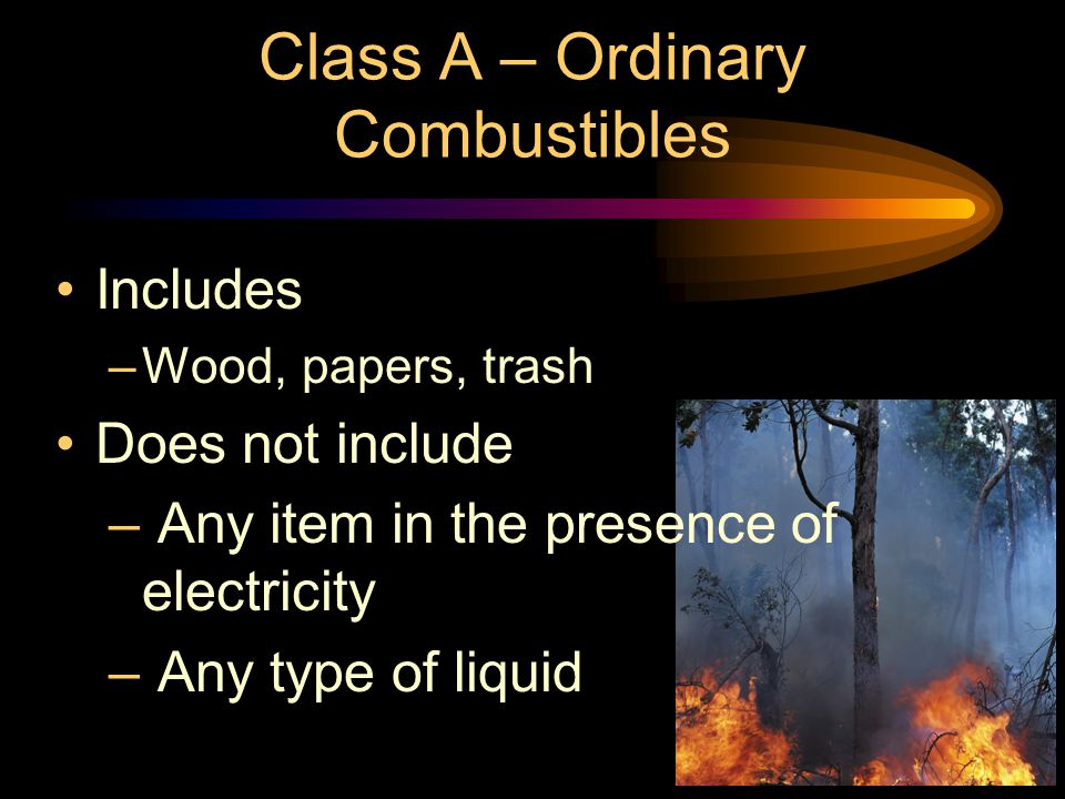 Class A – Ordinary Combustibles