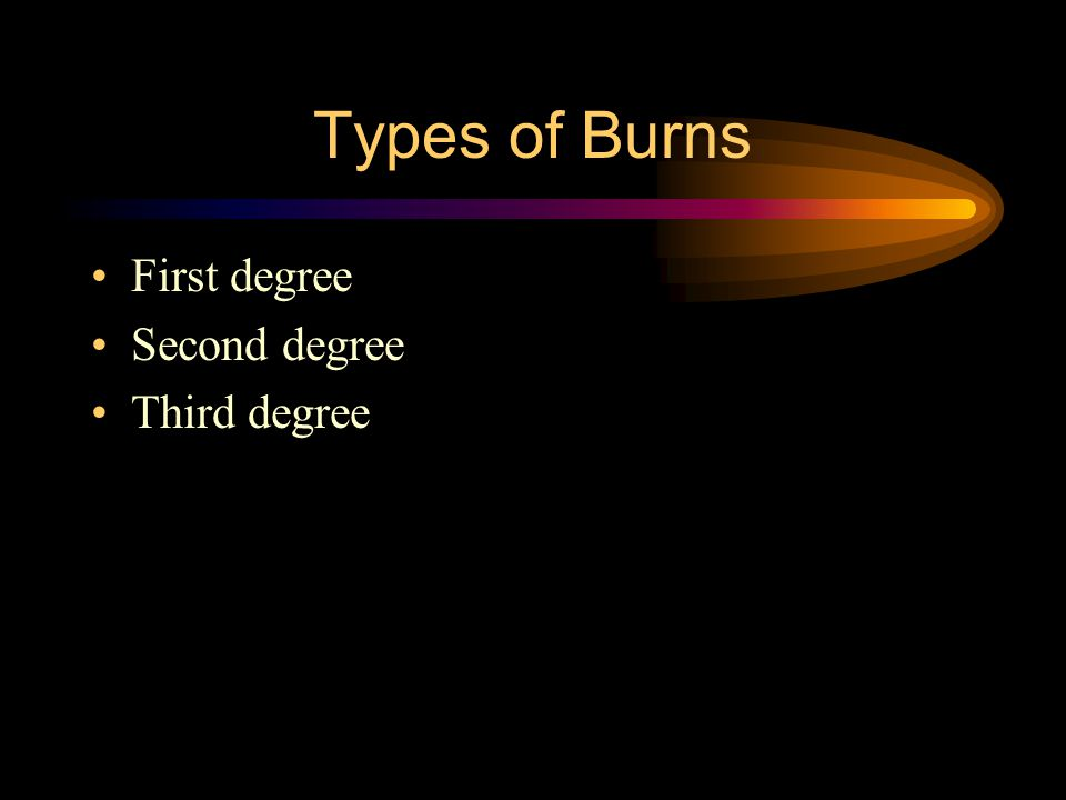 Types of Burns First degree Second degree Third degree