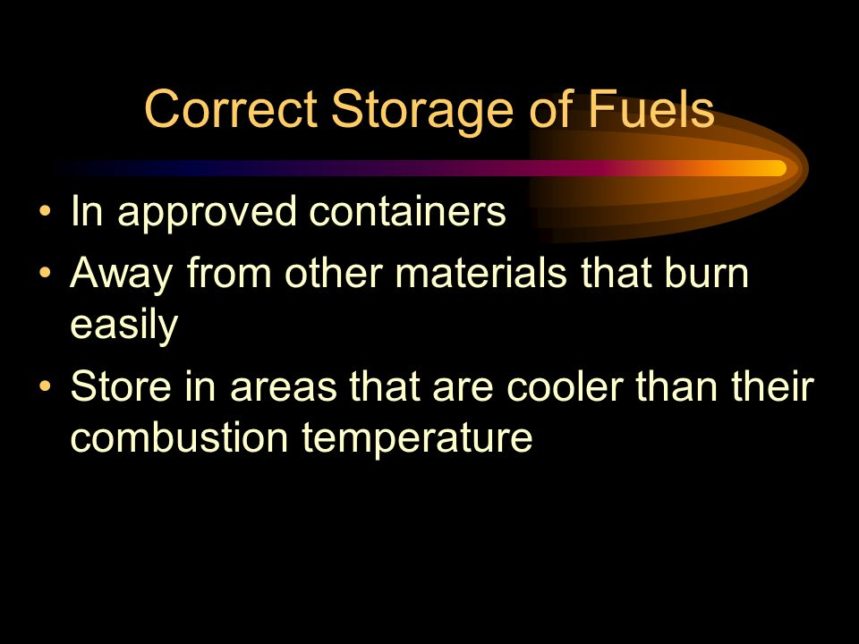 Correct Storage of Fuels