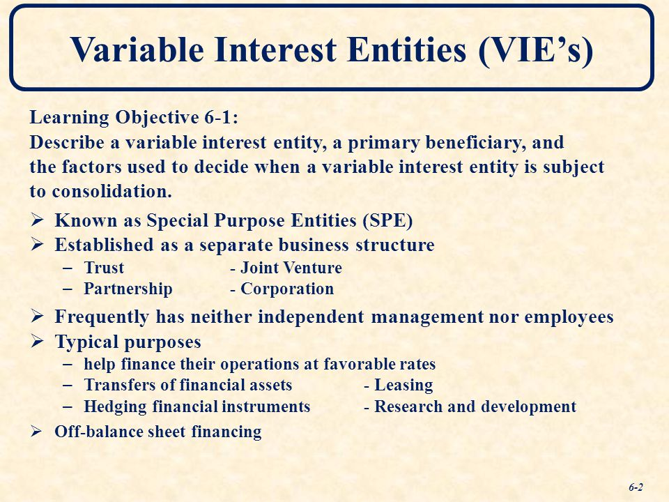 special purpose entities or variable interest Removes the concept of a qualifying special-purpose entity and removes the   consolidation of variable interest entities (fin 46r), to variable interest entities.