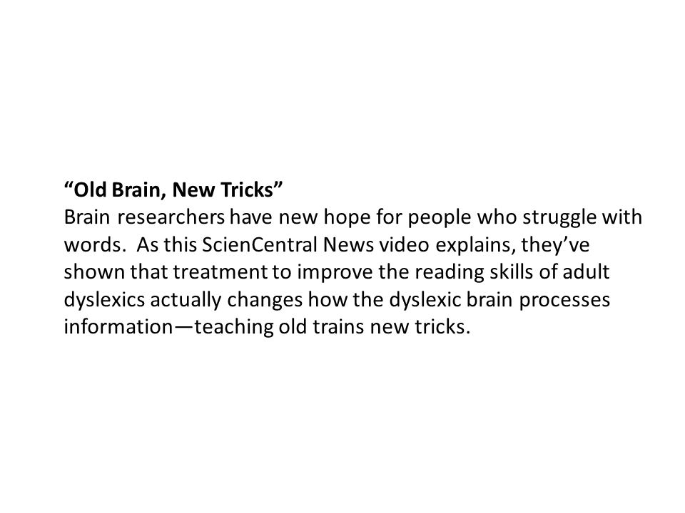 Old Brain, New Tricks