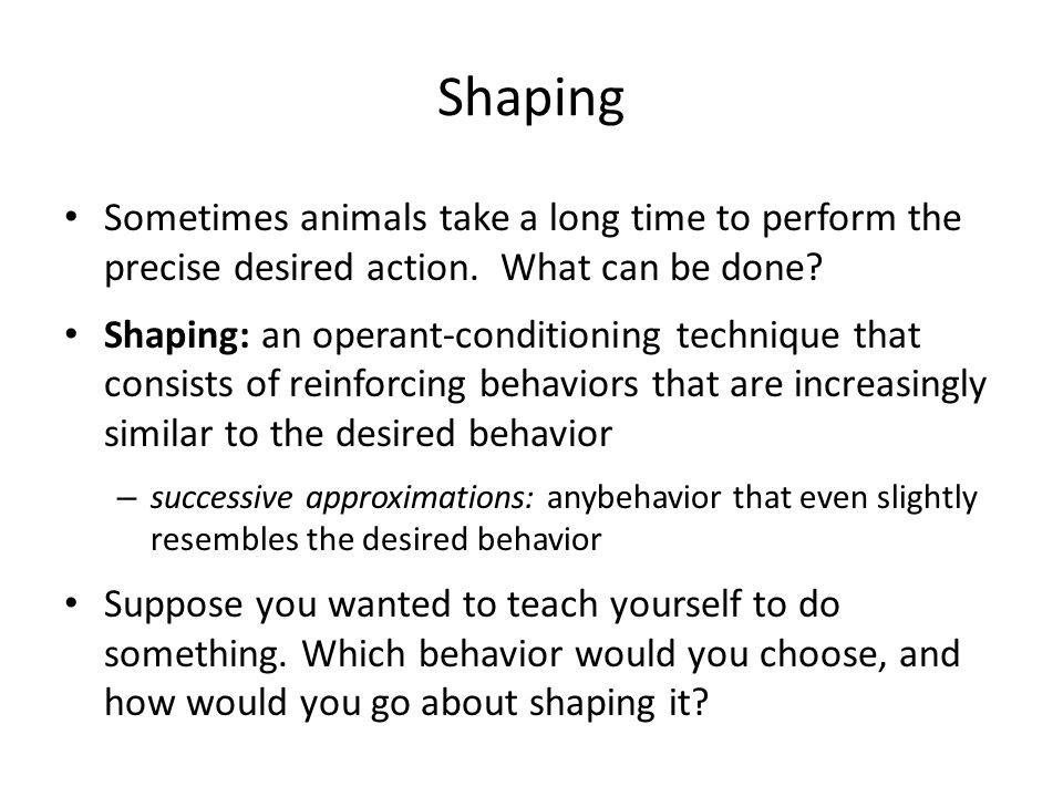 Shaping Sometimes animals take a long time to perform the precise desired action. What can be done
