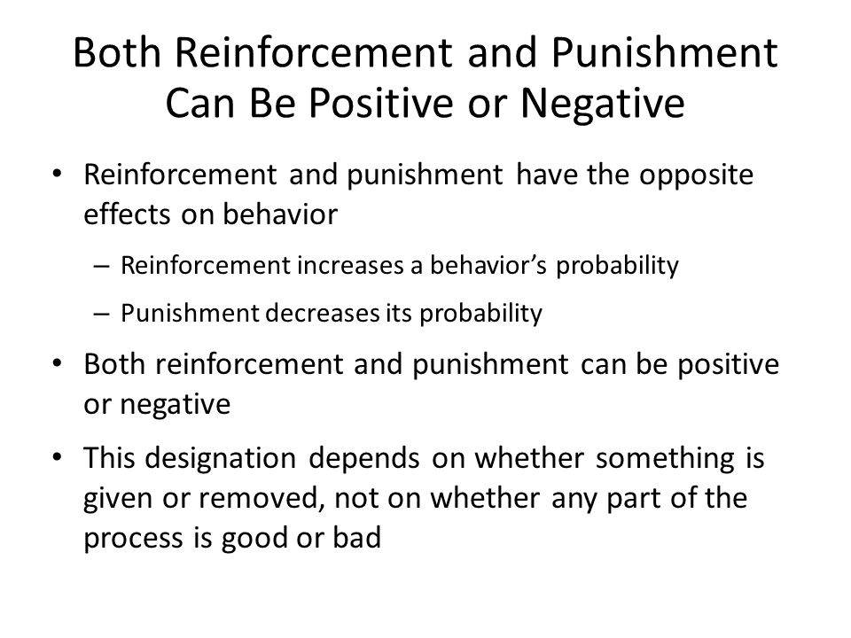 Both Reinforcement and Punishment Can Be Positive or Negative