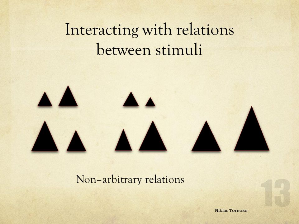 Interacting with relations between stimuli