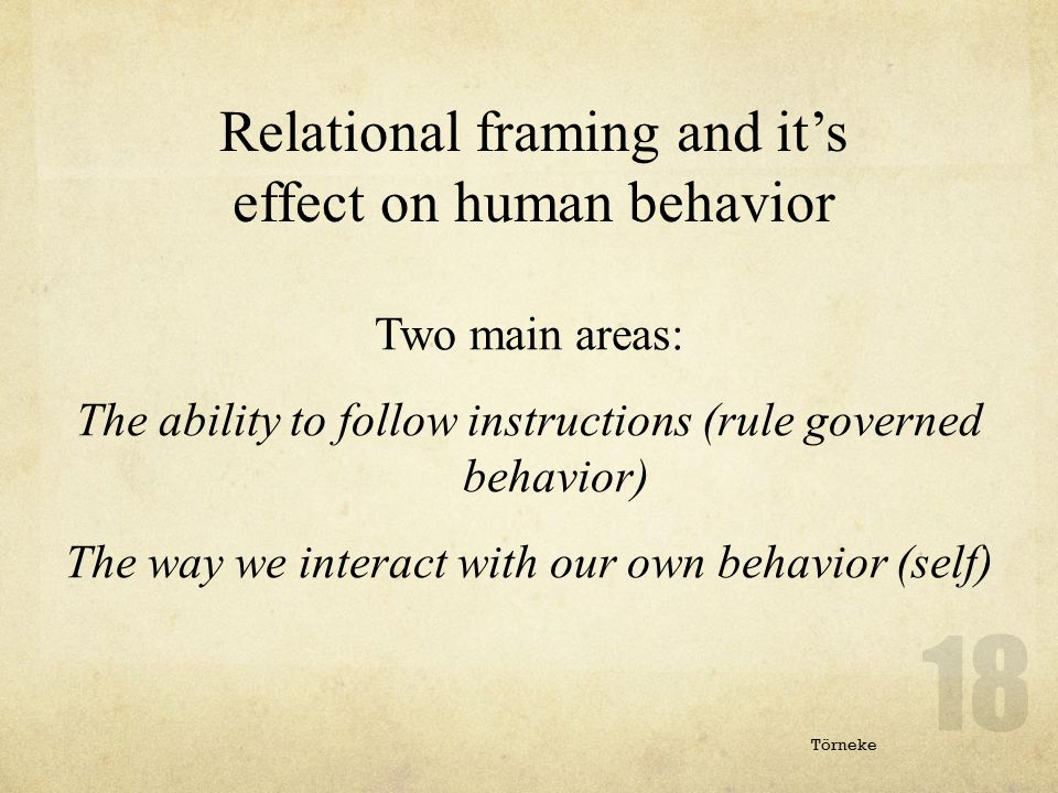 Relational framing and it's effect on human behavior