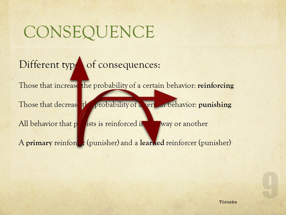 CONSEQUENCE ANTECEDENT Different types of consequences: