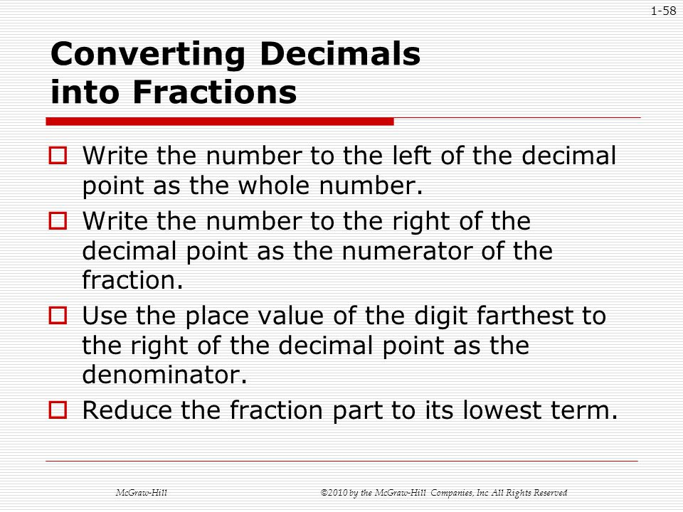 how to turn fractions with whole numbers into decimals