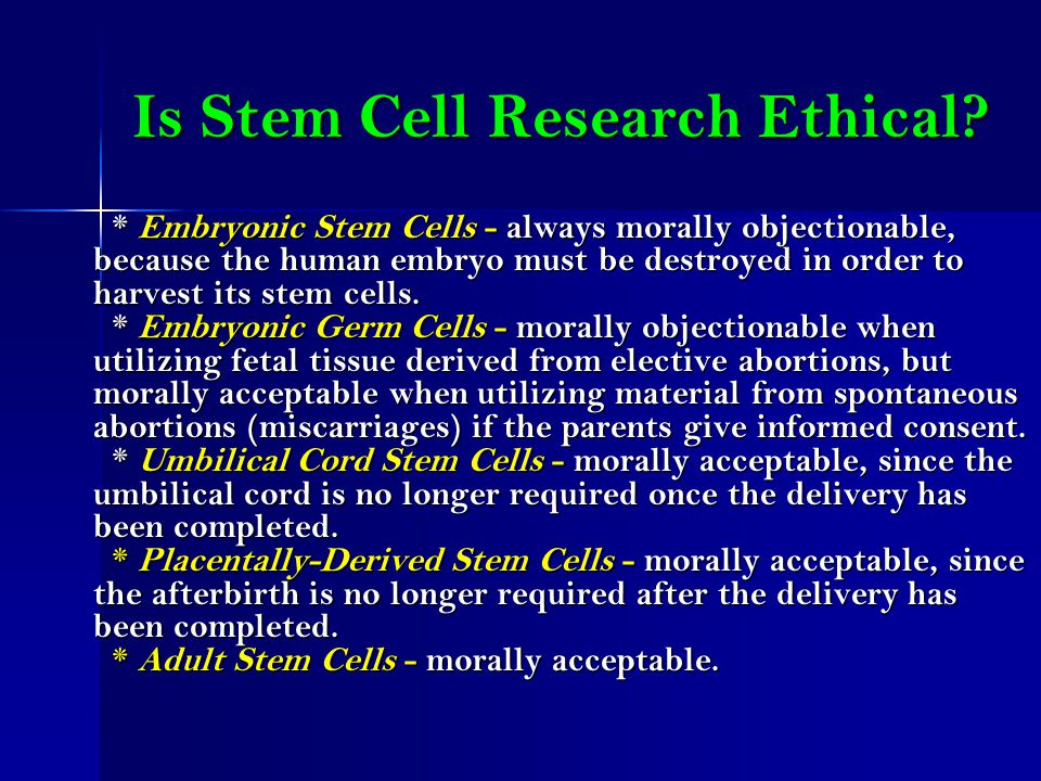 is stem cell research ethical essay