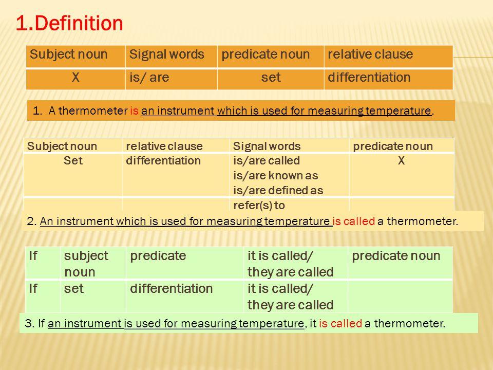 Definition Subject Noun Signal Words Predicate Relative Clause