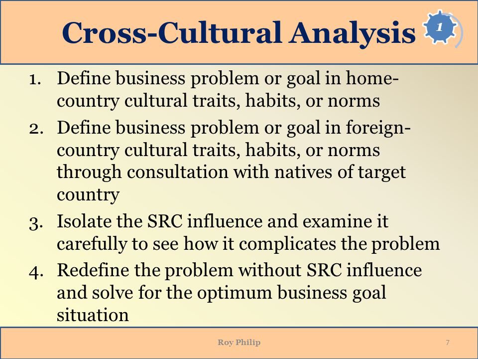 cross culture analysis Courses in cross-cultural analysis prepare students for a world with increased interaction and integration among peoples, companies, and governments these courses encourage a broader and deeper understanding of cultures and societies outside the united states.