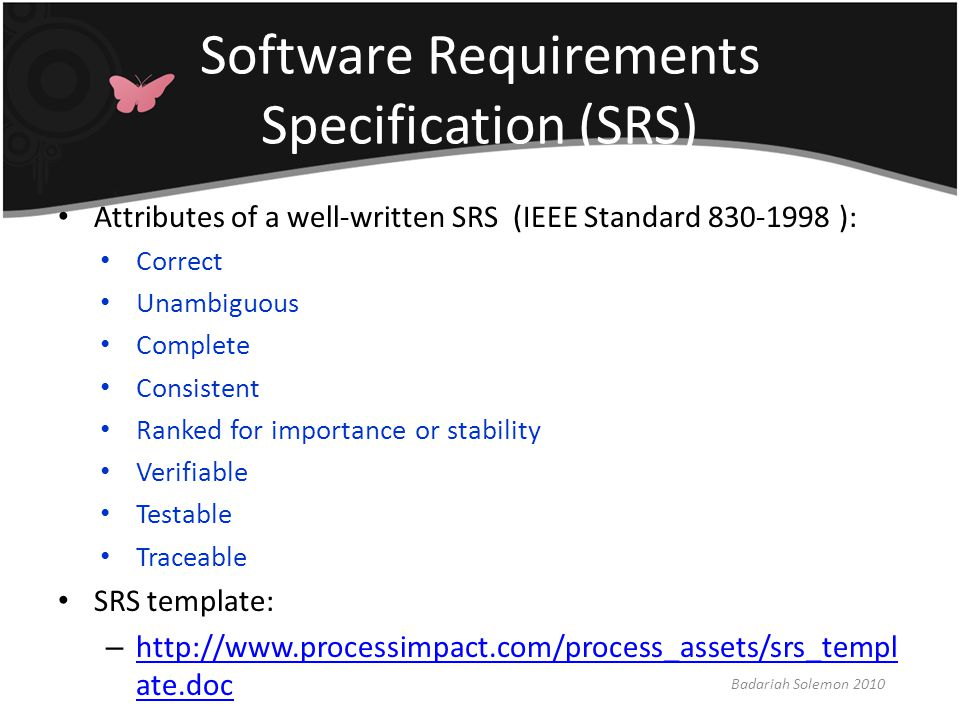 srs software requirement specification template - requirements engineering ppt download