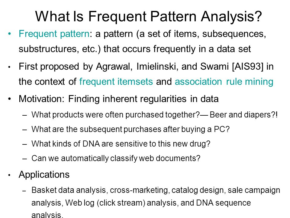 a new apporach of frequent pattern Based on our analysis, we propose a new ranking approach called fp-rank essentially, fp-rank adopts frequent pattern mining algorithms to mine frequent patterns, and then a new pattern selection algorithm is adopted to select a set of patterns with high overall significance and low redundancy our experiments on the.