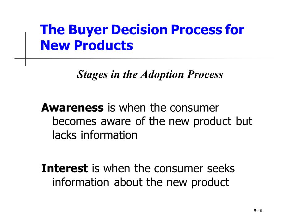 The Buyer Decision Process for New Products