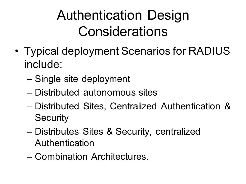 Authentication Design Considerations