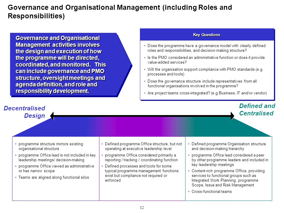 governance and organisational management including roles and responsibilities pmo responsibilities