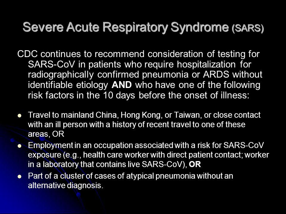 severe acute respiratory syndrome essay Overview of acute respiratory disease syndrome (ards) and respiratory mechanics keywords acute respiratory distress syndrome.