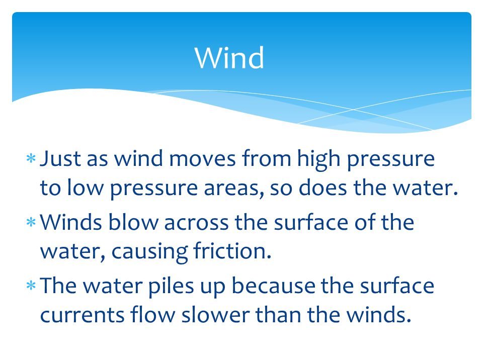 Wind Just as wind moves from high pressure to low pressure areas, so does the water. Winds blow across the surface of the water, causing friction.
