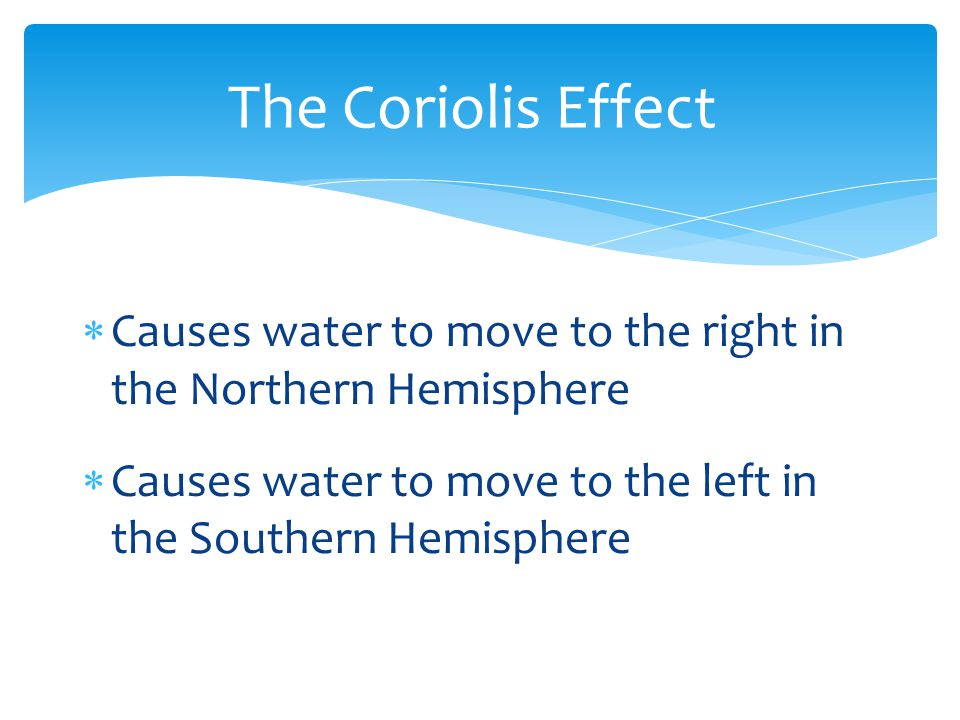 The Coriolis Effect Causes water to move to the right in the Northern Hemisphere.