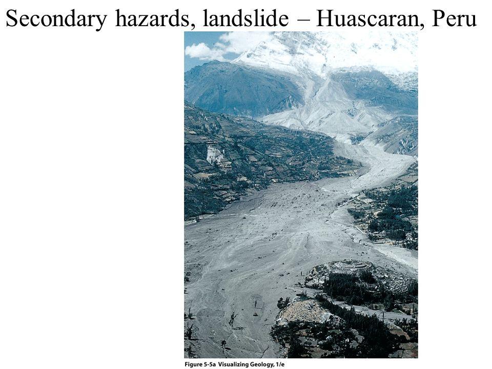 Secondary hazards, landslide – Huascaran, Peru