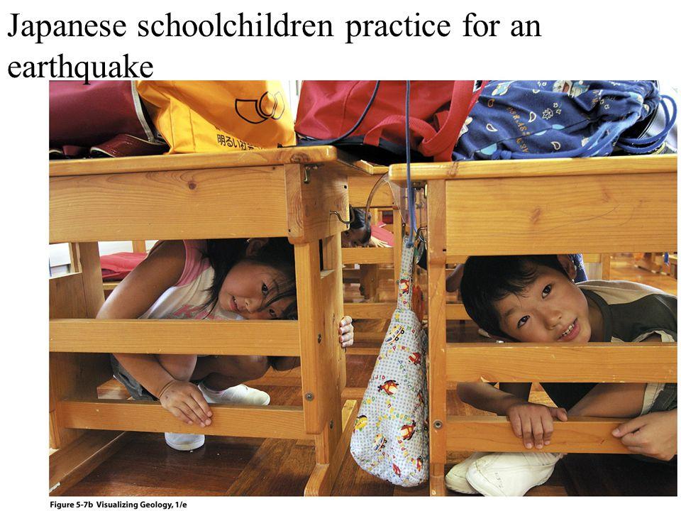 Japanese schoolchildren practice for an earthquake