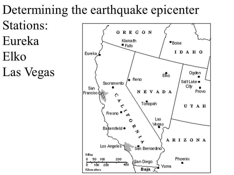 Determining the earthquake epicenter Stations: