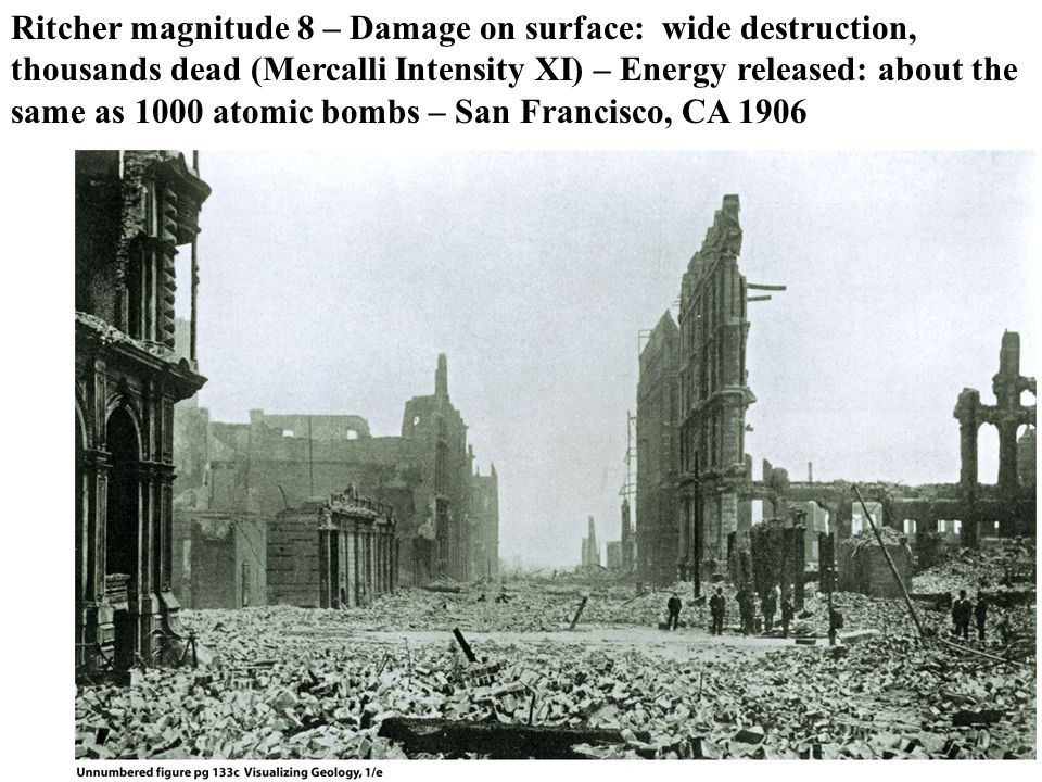Ritcher magnitude 8 – Damage on surface: wide destruction, thousands dead (Mercalli Intensity XI) – Energy released: about the same as 1000 atomic bombs – San Francisco, CA 1906
