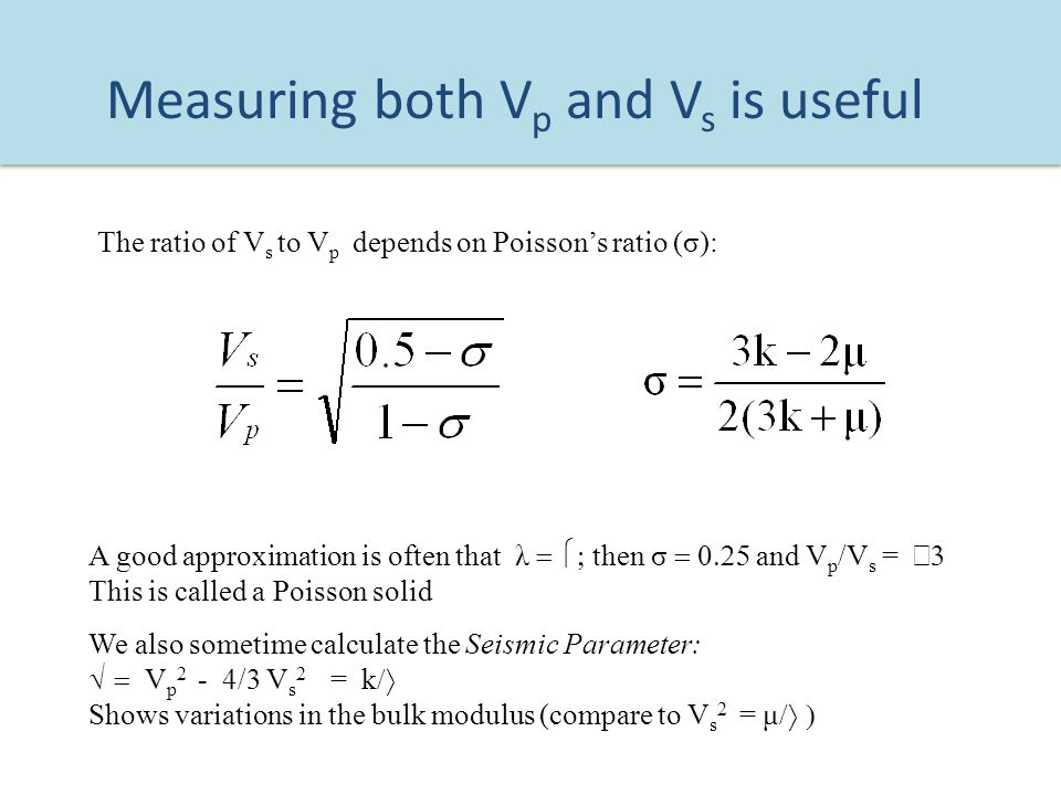vp vs ratio poisson relationship derivation