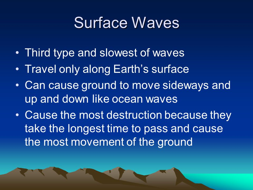 Surface Waves Third type and slowest of waves