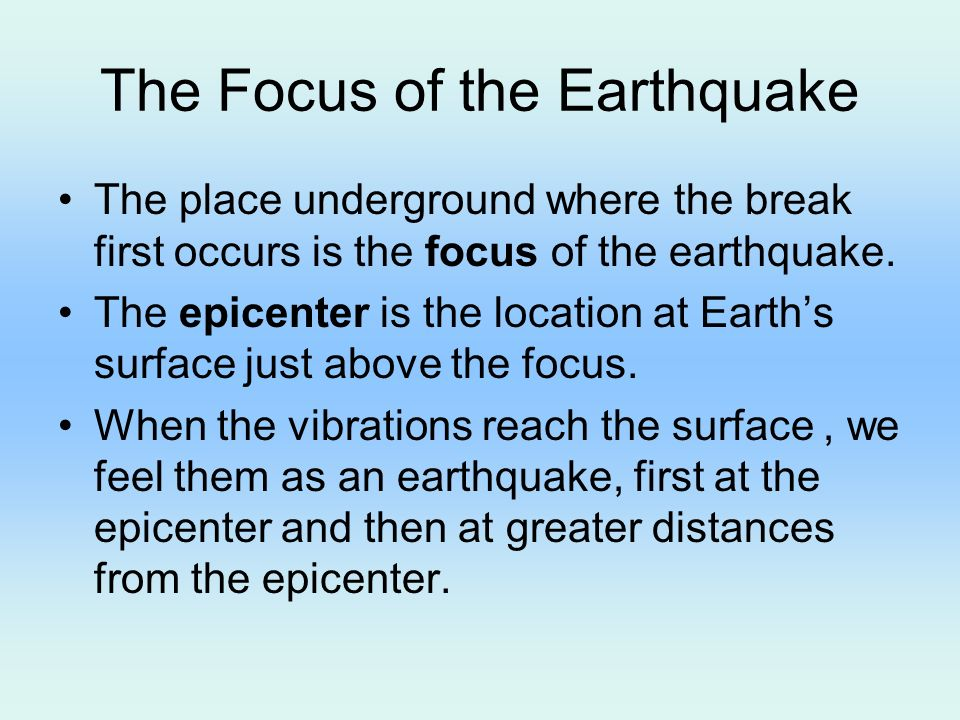 how to find focus of earthquake