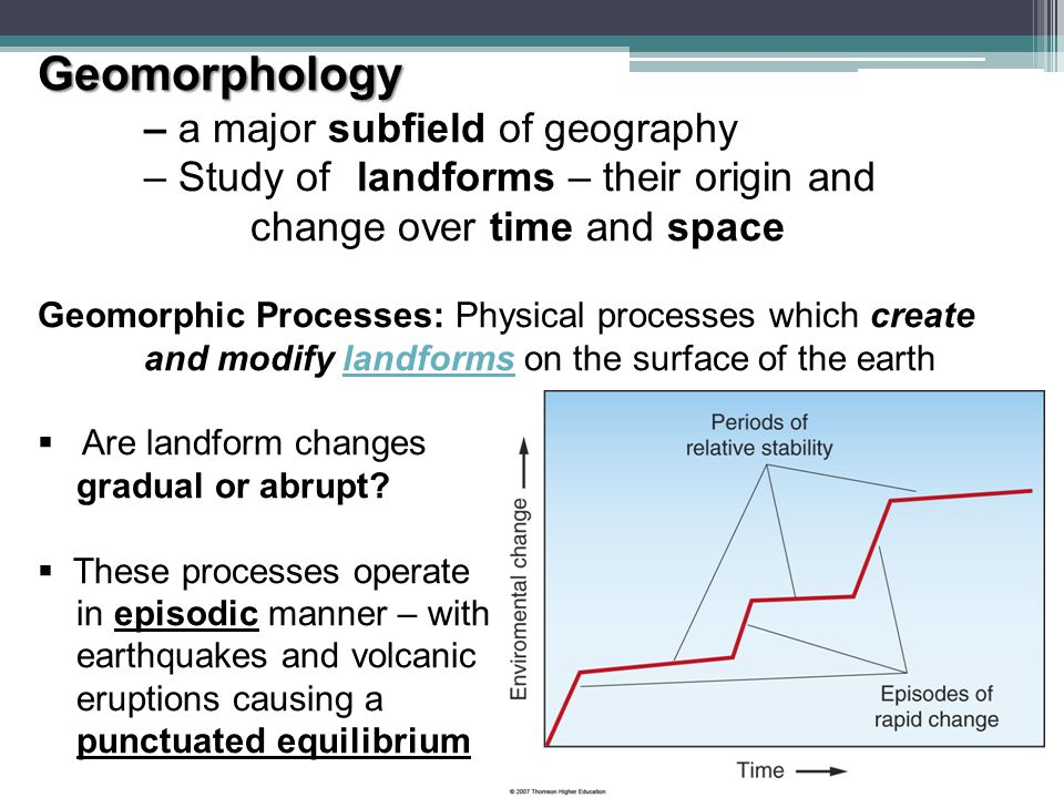 Geomorphology – a major subfield of geography