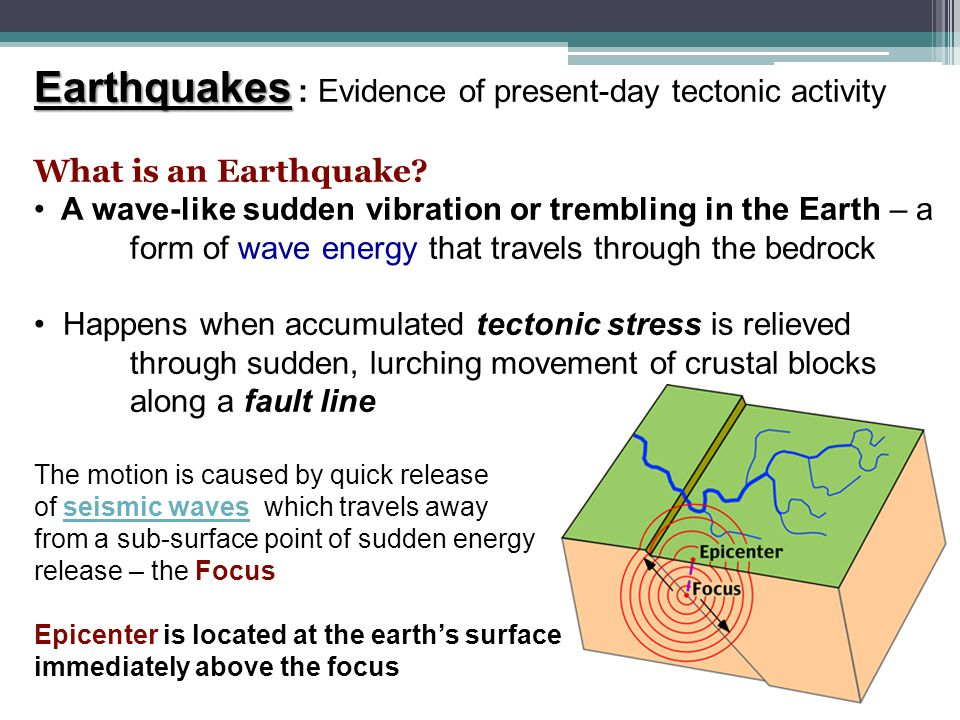 Earthquakes : Evidence of present-day tectonic activity