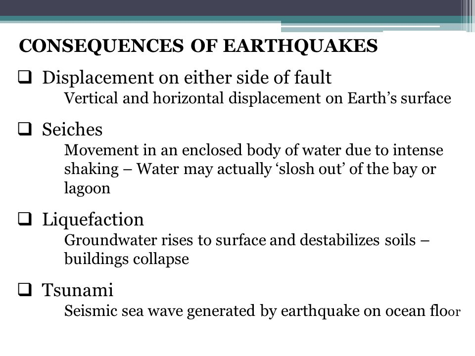 CONSEQUENCES OF EARTHQUAKES