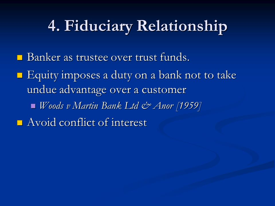 fiduciary relationship banker and customer