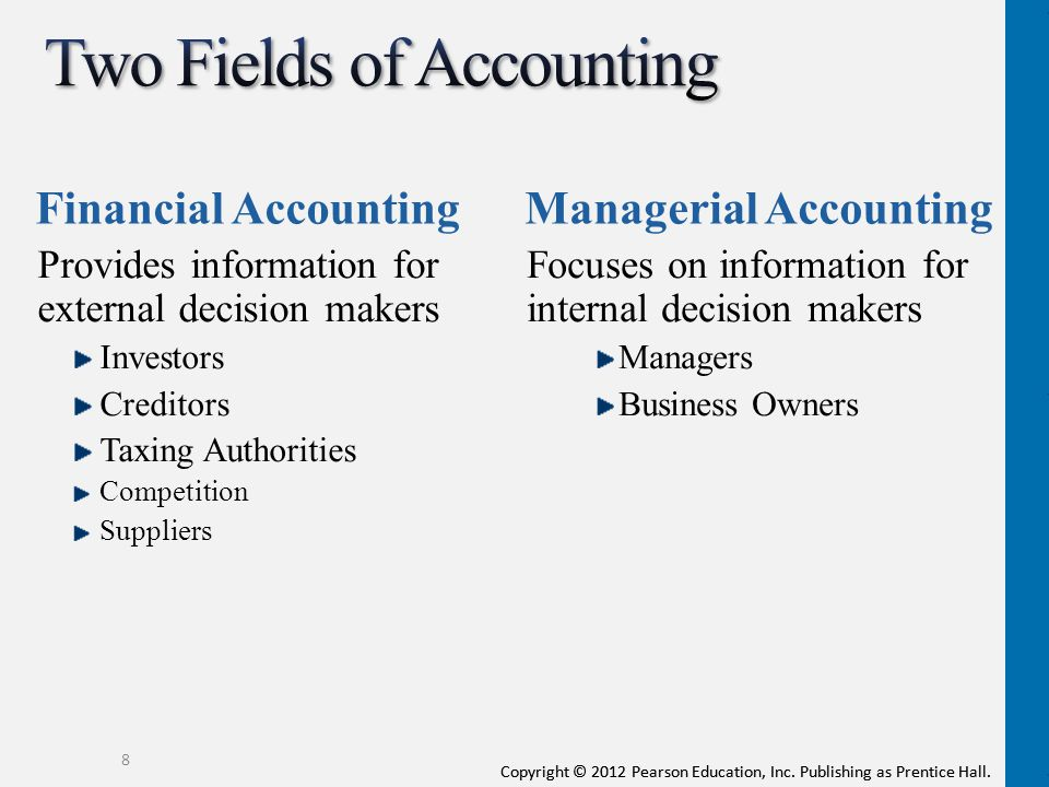 different fields of accounting Accounting is a diverse field, but the myriad different fields can all be grouped under six specific categories.