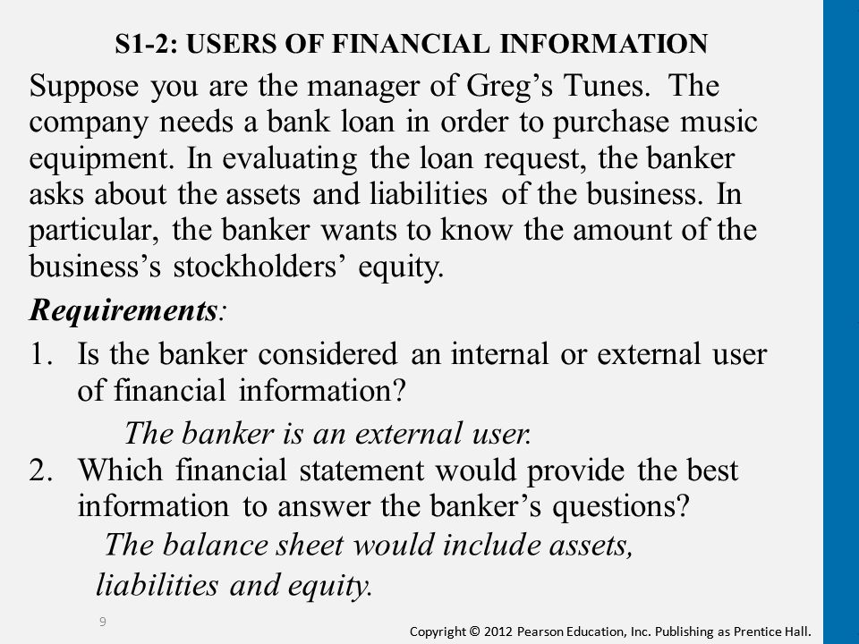 users of financial information Answer to external users of financial information:a are those individuals involved in managing and operating the companyb.