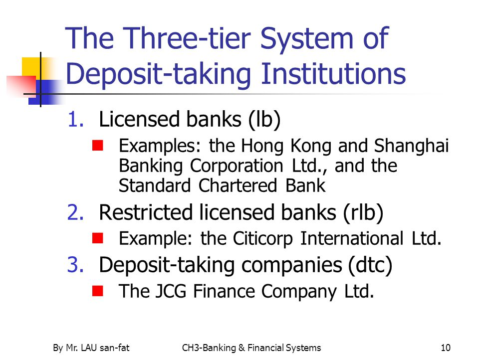 The Three-tier System of Deposit-taking Institutions