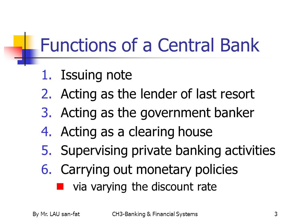 Functions of a Central Bank
