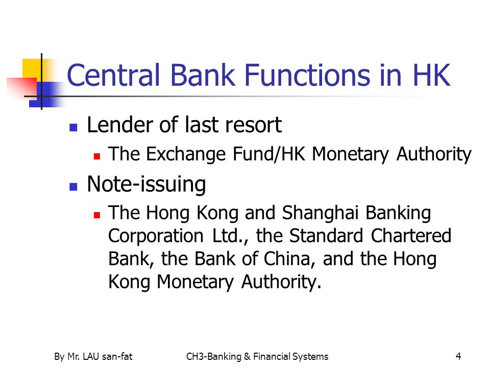 Central Bank Functions in HK