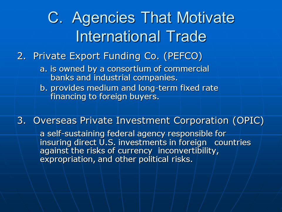 C. Agencies That Motivate International Trade