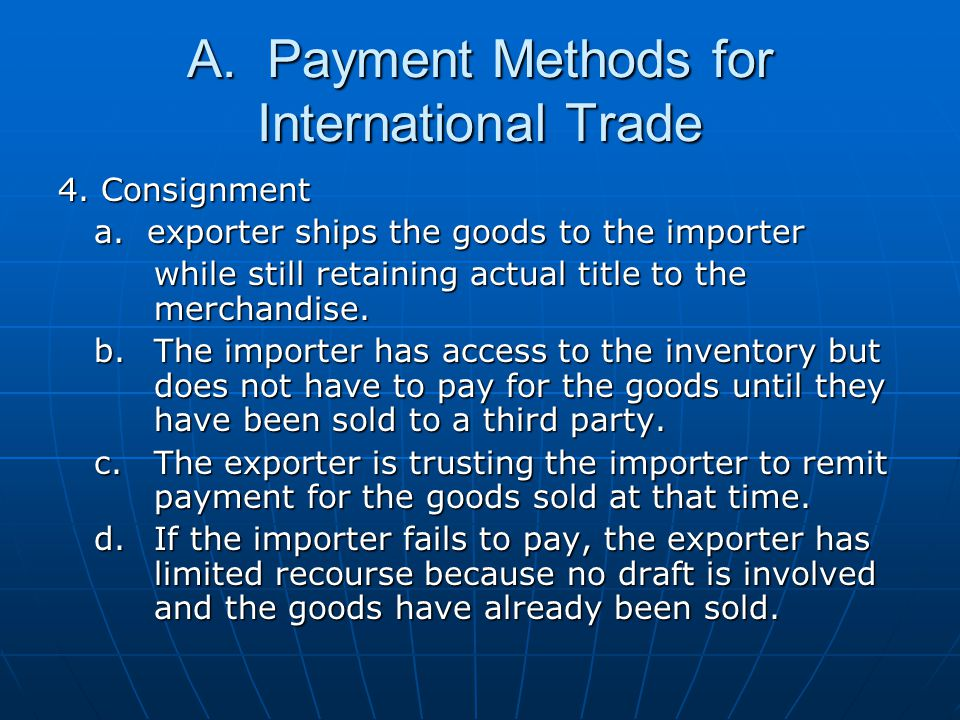 A. Payment Methods for International Trade