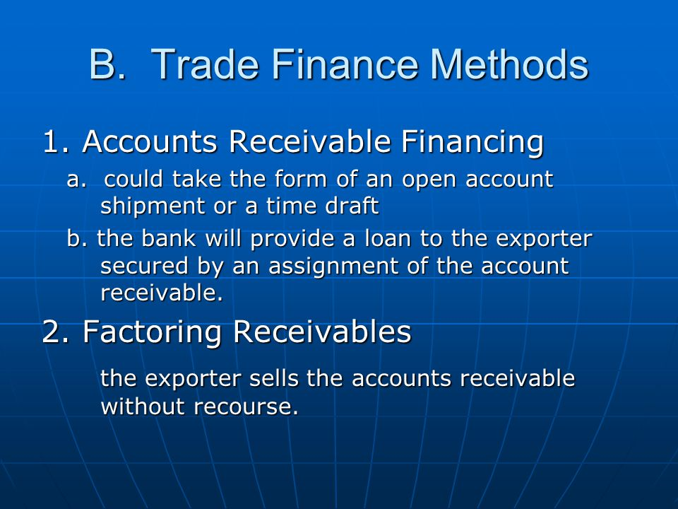B. Trade Finance Methods