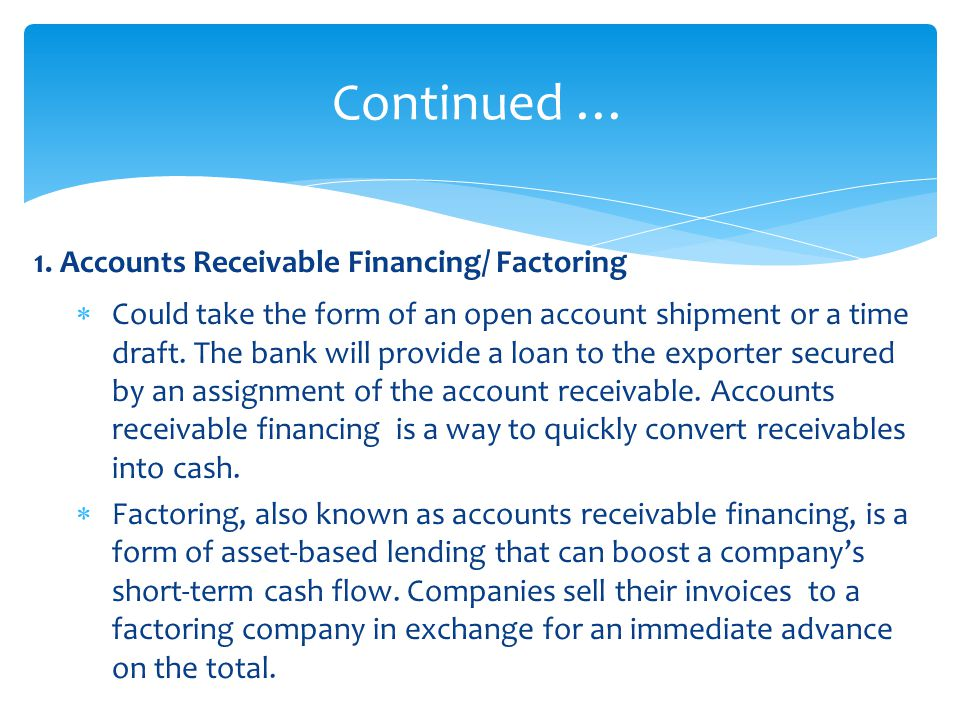 Accounts Receivable Assignment