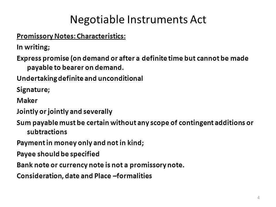 Negotiable Instruments Act Ppt Video Online Download
